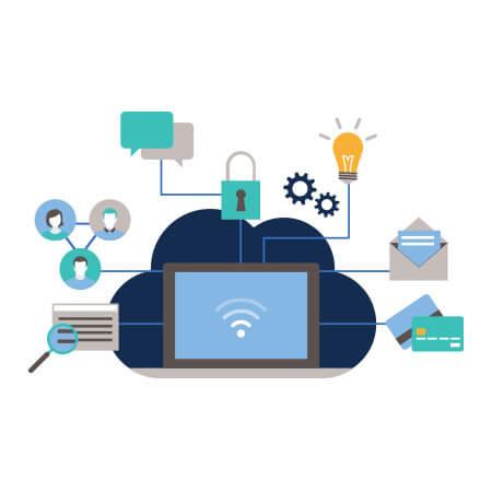 Een geanimeerde tekening van een computer die online is verbonden met andere applicaties